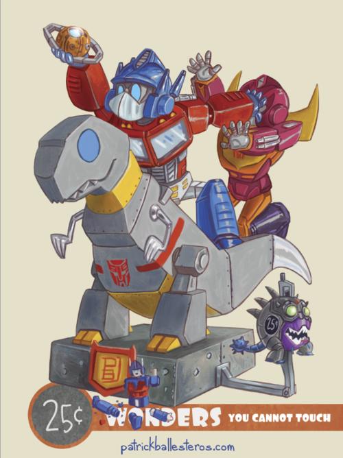 25 cents wonders transformers optimus prime dinossauro robô gigante
