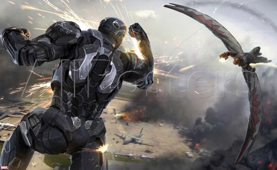 capitão américa guerra civil concept art falcão e war machine 2