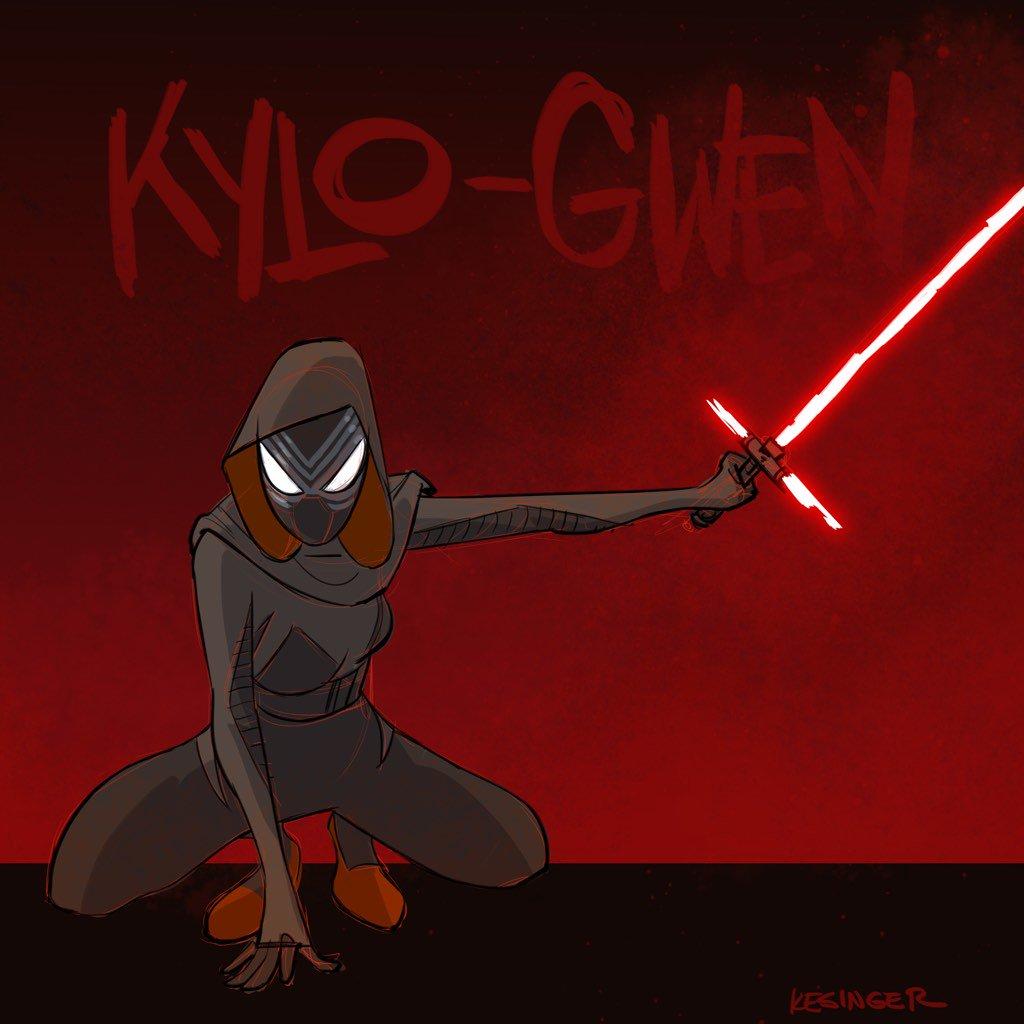 kylo gwen star wars the force awakens spider gwen mashup