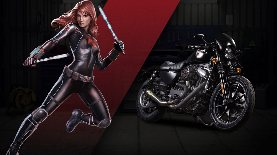 marvel hero harley-davison black widow