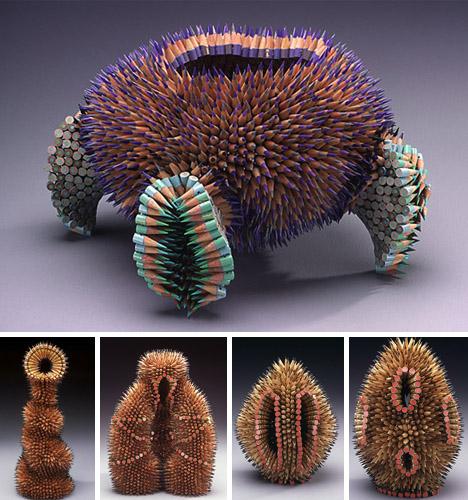 esculturas com pontas de lápis