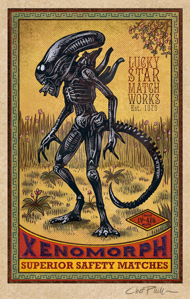 vintage-matchboox-style-art-featuring-mythological-creatures-like-cthulhu-aliens-godzilla-and-more1
