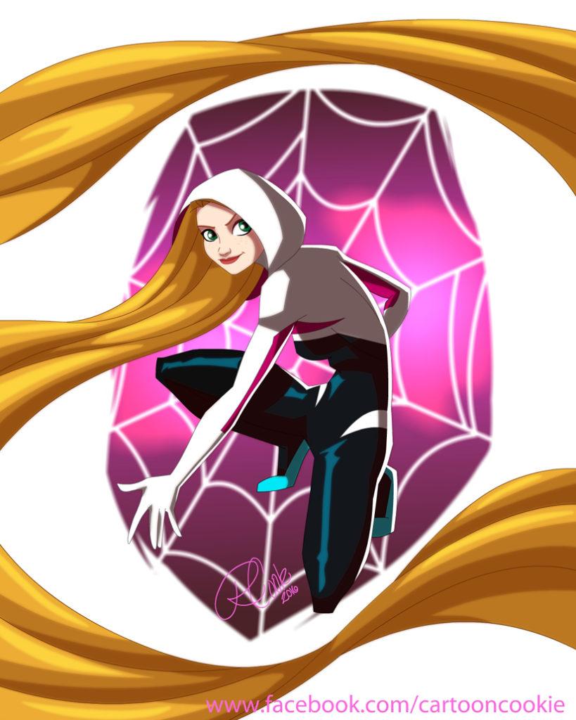 Princesas Disney como heroínas da marvel Rapunzel Gwen Stacy