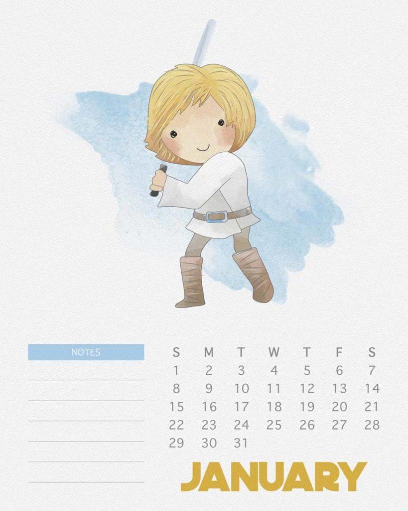 Calendário 2017 de Star Wars