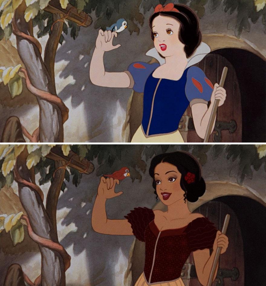 Princesas Disney com diferentes etnias