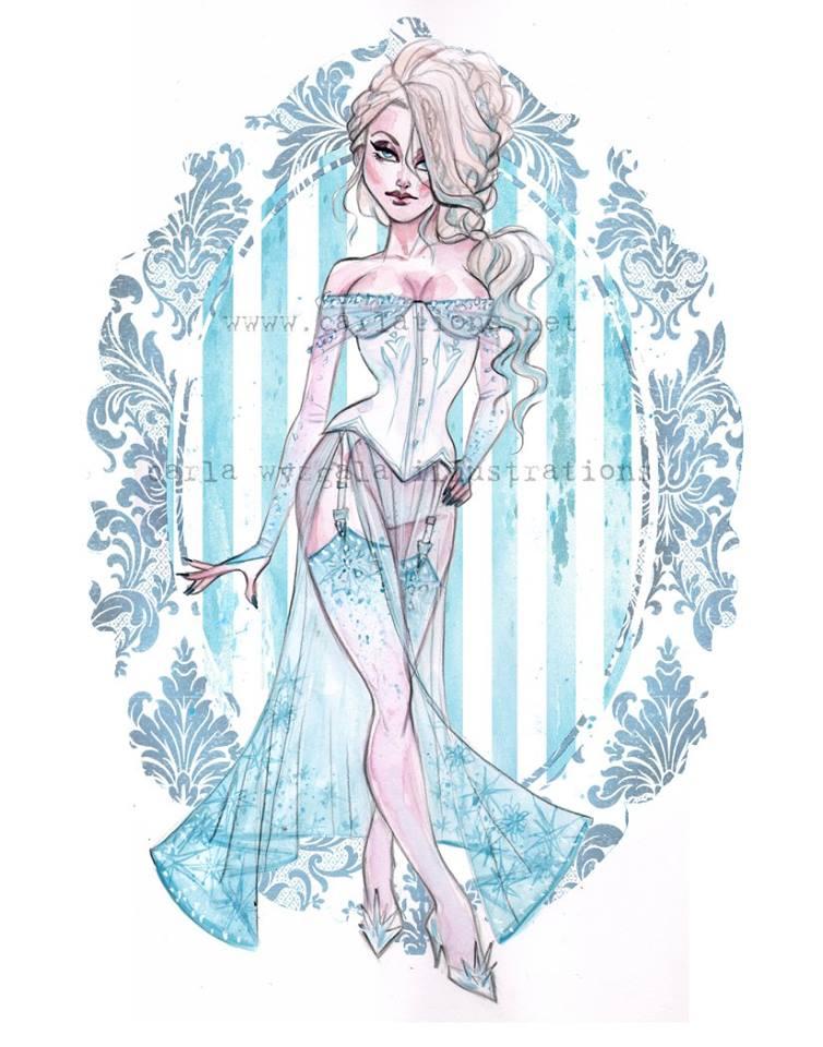 Princesas Disney lingeries pinup por Carla Wyzgala