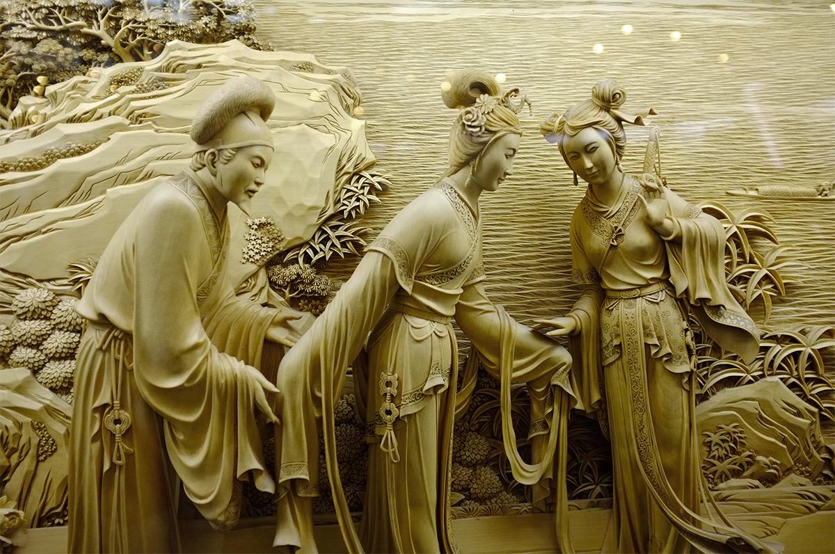 Dongyang esculturas em madeira pagoda