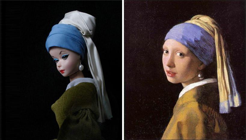 """obras de arte com barbies """"La Jeune Fille à la Perle"""""""